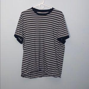 Navy/white striped shirt sleeve
